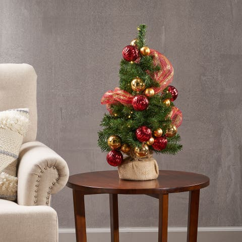 2-ft. Pre-lit Faux Noble Fir Christmas Tree w/ Clear LED by Christopher Knight Home