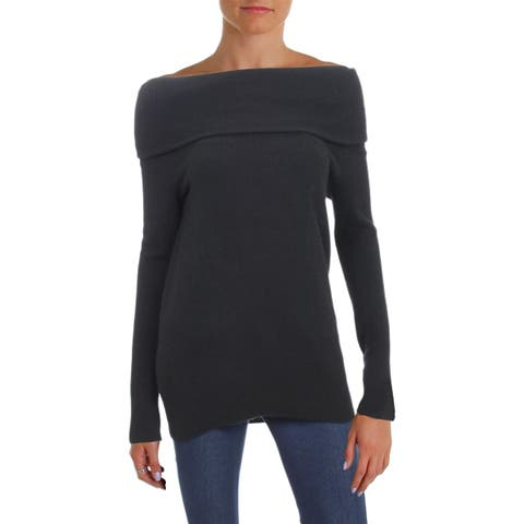 Aqua Womens Pullover Sweater Cashmere Off-The-Shoulder