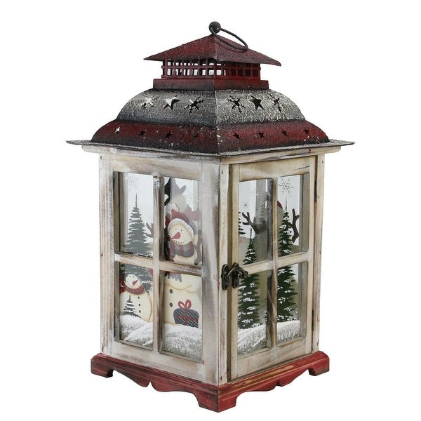 "17.5"" Snowman Holiday Scene Christmas Pillar Candle Lantern - WHITE"