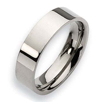 Chisel Flat Polished Titanium Ring (6.0 mm)