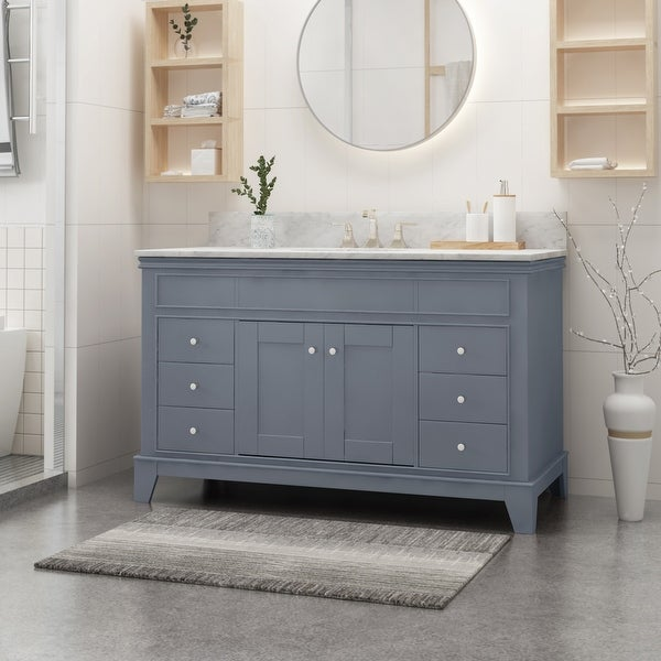 Feldspar Wood and Carrara Marble Vanity by Christopher Knight Home. Opens flyout.