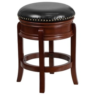 Offex 24'' Backless Light Cherry Wood Counter Height Stool with Black Leather Swivel Seat