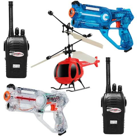 Gymax Infrared Laser Tag Guns 2 Players Blasters Game w/ 2 Walkie talkies & Helicopter - White, Blue