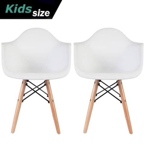 2xhome Set of 2 Kids Toddler Armchair Natural Wood legs For Children Child Preschool Kitchen Dining Home Living Room Play