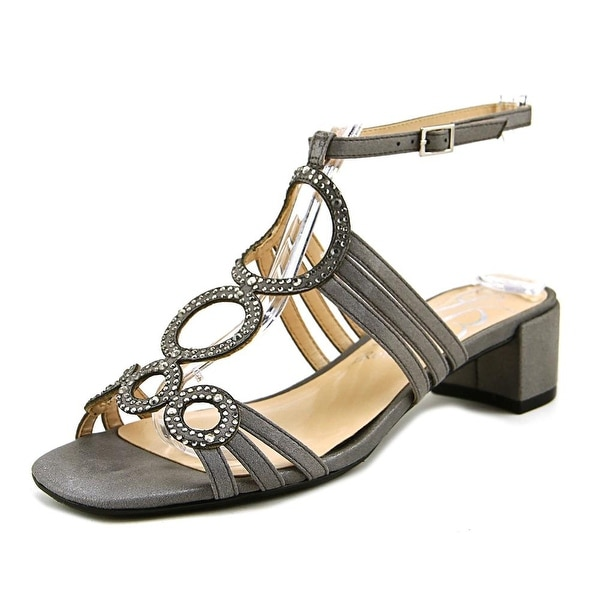 J. Renee Terri Women Open Toe Canvas Gray Sandals