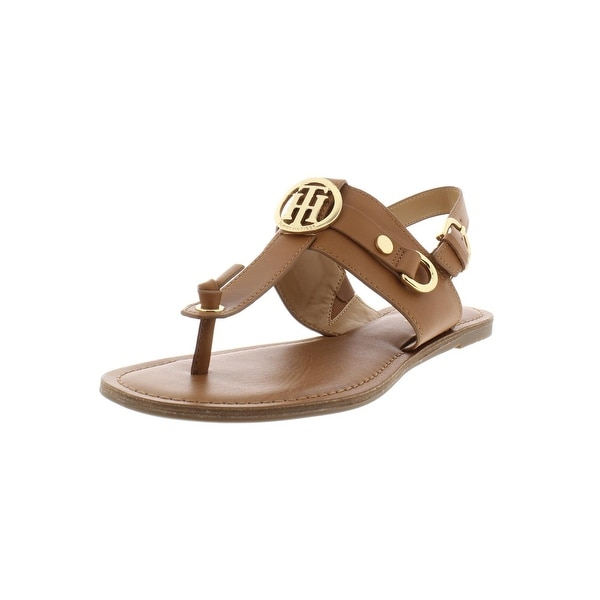 54cf9ae9d Shop Tommy Hilfiger Womens Luvee T-Strap Sandals Faux Leather Slingback - 8  Medium (B