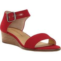 Lucky Brand Women's Riamsee Wedge Sandal Red Textile