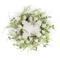 Pack of 2 Green and White Springtime Artificial Hydrangea Wreaths 24""