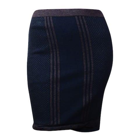Studio M Women's 'Jeanette' Cotton Blend Knit Skirt (L, Spruce/Heather Charcoal) - Spruce/Heather Charcoal - L
