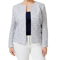 Tahari By ASL NEW Blue White Floral Lace Women's Size 14W Plus Jacket