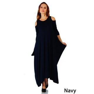 Simply Ravishing Maxi Boho Harem Cold Shoulder 3/4 Sleeve Dress (Size: S-5X) (More options available)