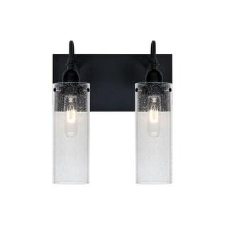 Besa Lighting 2WG-JUNI10CL Juni 2 Light Vanity Strip with Clear Bubbled Glass Shades