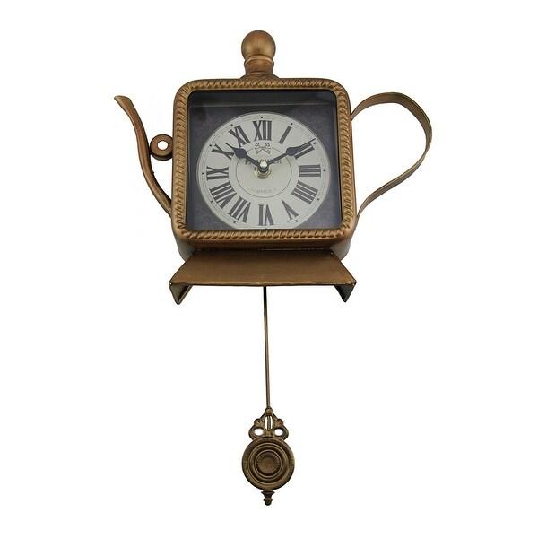 Tea Time Metallic Bronze Finish Teapot Pendulum Wall Clock