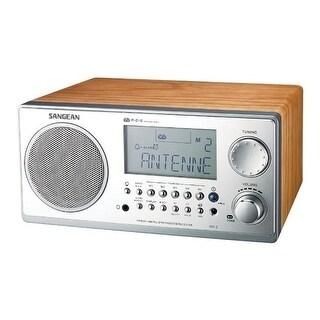 Sangean Wr2wal Digital Am Fm Stereo System With Lcd Alarm Clock Walnut Walnut