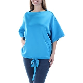 ANNE KLEIN $99 Womens New 1005 Blue Tie 3/4 Sleeve Boat Neck Casual Top XL B+B