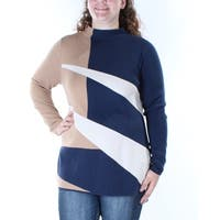 ALFANI Womens Navy Color Block Long Sleeve Turtle Neck Sweater  Size: S