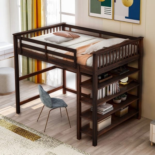 Full Size Loft Bed With Storage Shelves And Under Bed Desk Espresso Overstock 33952063