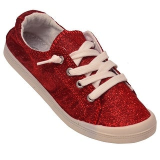 Adult Red Shimmery Texture Lace-Up Closure Trendy Casual Sneakers