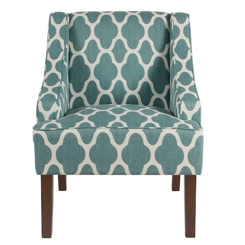 Porch & Den Minna Teal Geometric Classic Swoop Arm Chair
