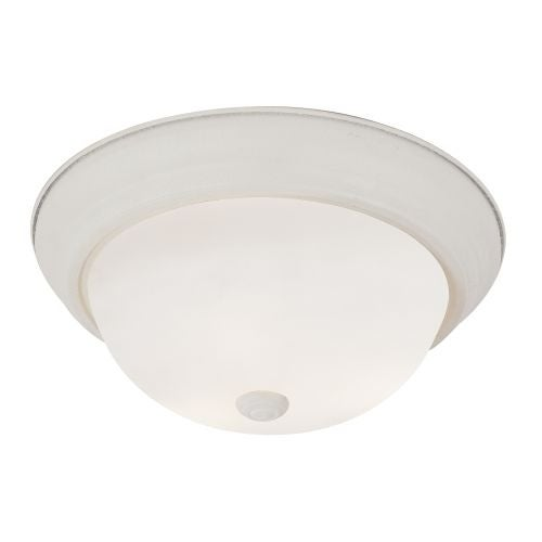 "Trans Globe Lighting PL-13717 2 Light Energy Saving 11"" Flush Mount Round Ceiling Fixture with Frosted Shade"