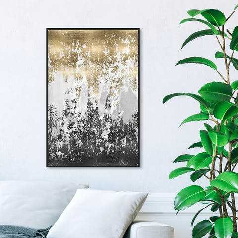 Oliver Gal 'Had a Moment' Abstract Wall Art Framed Canvas Print Paint - Gold, Black