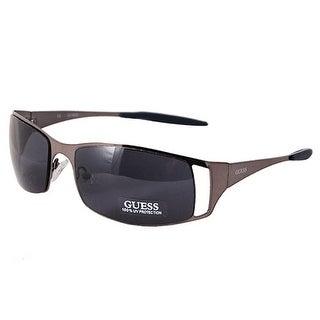 Guess GU6248 GUN-9 Unisex Wrap Shield Blue Lens Designer Sunglasses, Gunmetal