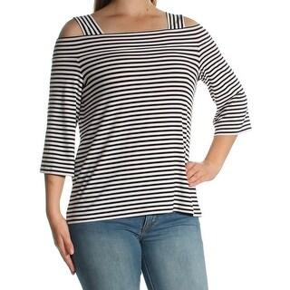 Womens Black White Striped 3/4 Sleeve Square Neck Top Size M