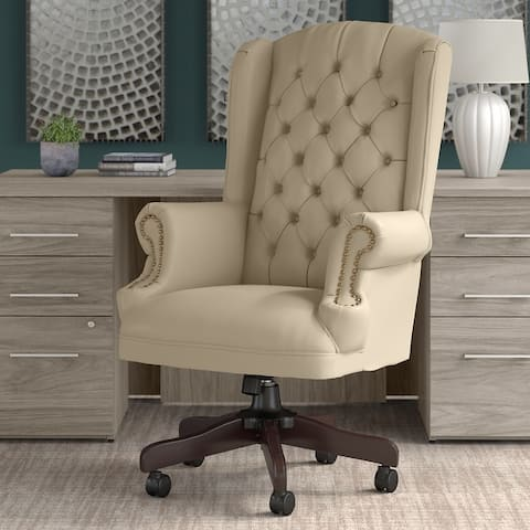 Bush Business Furniture Yorkshire Wingback Leather Executive Office Chair with Nailhead Trim