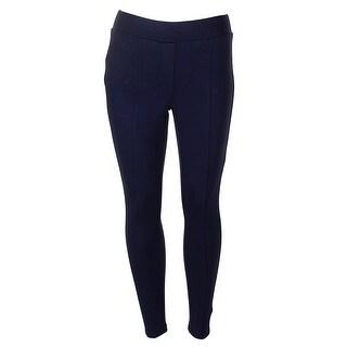 Style Co Petite Midnight Blue Stretch Seam-Front Ponte Leggings PP