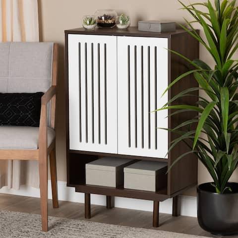 Meike Mid-Century Modern Two-Tone 2-Door Shoe Cabinet