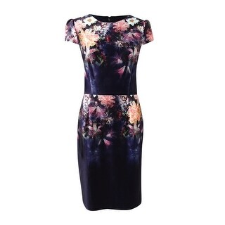 Betsey Johnson Women's Floral-Print Sheath Dress - navy/multi