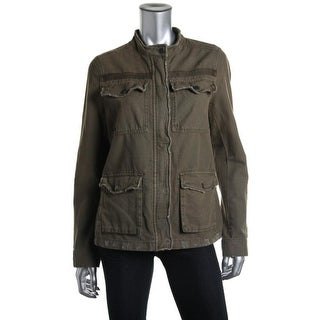 Free People Womens Juniors Jacket Cotton Distressed