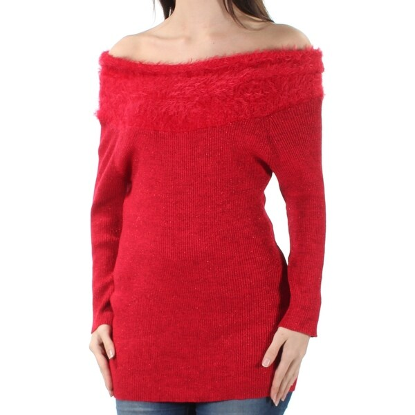 aae7b8b1398 Shop NY COLLECTION Womens Red Eyelash Material Long Sleeve Off Shoulder Tunic  Sweater Size: S - Free Shipping On Orders Over $45 - Overstock - 21391124