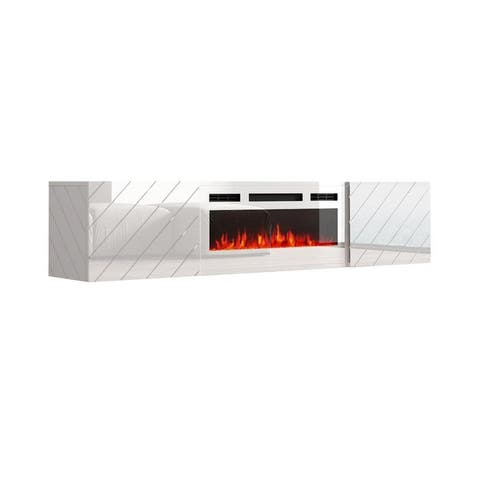 """Luxe WH-EF Wall Mounted Electric Fireplace Modern 72"""" TV Stand"""