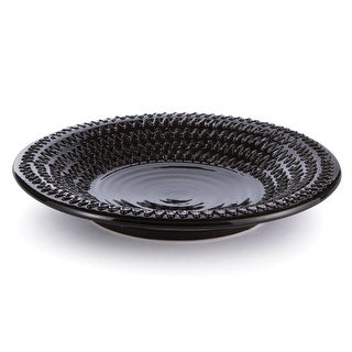 "19"" Black Contemporary Textured Pattern Ceramic Decorative Plate Centerpiece"
