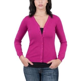 Real Cashmere Fuschia V-Neck Cardigan Womens Sweater
