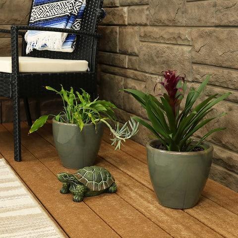 Resort Ceramic Indoor/Outdoor Planter - Set of 2 - Gray - 8-Inch