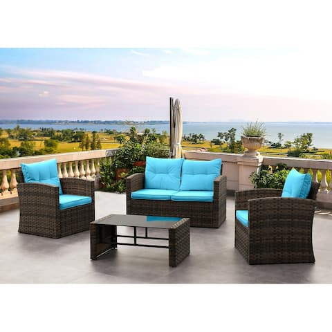 BestLiving 4 Piece Rattan Sofa Seating Group with Cushions-Blue