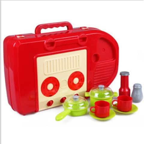 Title: Kid's Kitchen Utensils Set Play House, Changable Combination Kitchen Ware,imitate cooking,Perfect Gift - Red