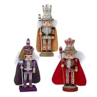 """Set of 3 Hollywood Red, Gold and Purple Decorative Christmas Nutcrackers 10"""""""