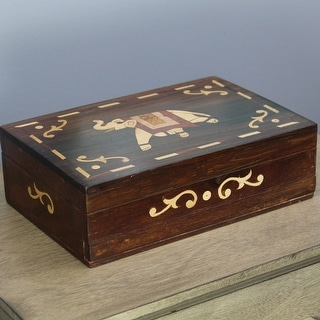 Natural Geo Handmade Rosewood Yellow Elephant Wooden Decorative Box