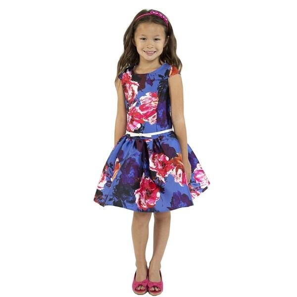 41c7fe46f73 Shop Kids Dream Little Girls Royal Blue Floral Print Mikado Flower Girl  Dress - Free Shipping Today - Overstock - 23159689