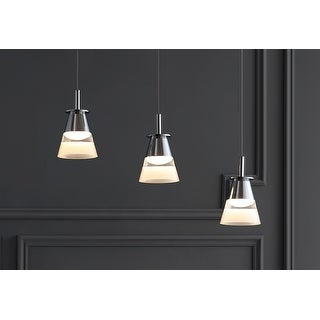 """Link to Alain 19.5"""" 3-Light Cascading Integrated LED Cluster Pendant by JONATHAN  Y Similar Items in Pendant Lights"""