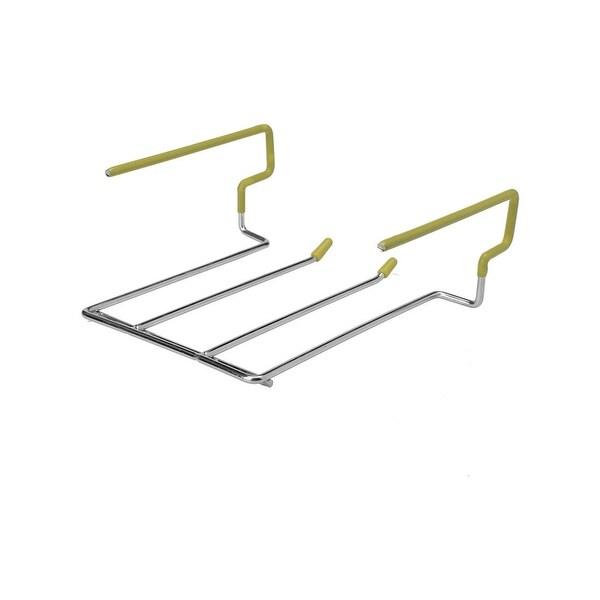 Bars 304 Stainless Steel 2 Rows Wine Glass Hanger Rack 18.5cm x 13cm x 8.6cm - Silver