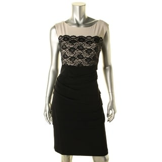 Connected Apparel Womens Lace Overlay Shutter Pleat Cocktail Dress