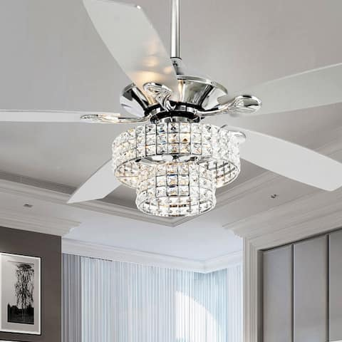 """52"""" Chrome 5-Blade Crystal Chandelier Ceiling Fan with Remote"""
