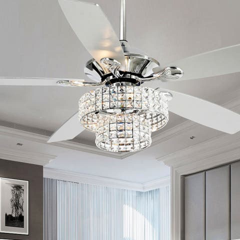 52-inch Chrome 4-light Crystal Shade Ceiling Fan with Remote - 52-in