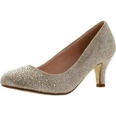 Bonnibel Wonda-1 Womens Round Toe Low Heel Glitter Slip On Dress Pumps