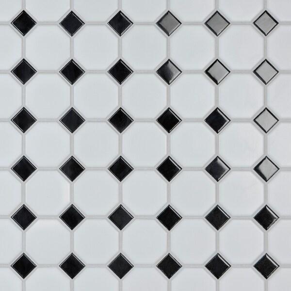 "SomerTile Metro Octagon Matte White with Black Dot 11.5"" x 11.5"" Porcelain Mosaic. Opens flyout."