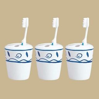 3 Bathroom Toothbrush Holders Blue & White Ceramic